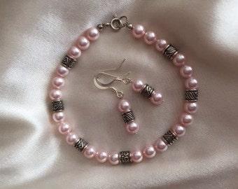Pearl bracelet with earrings rosaline pink Swarovski pearls