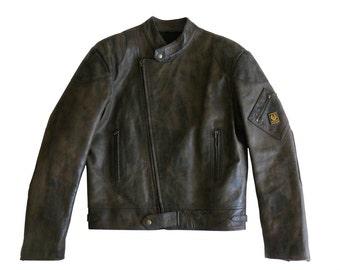 Belstaff Men's Brown Leather Motorcycle Biker Racing Jacket Large Made in England Size L