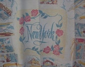 Vintage Souvenir, New York City,Table Cloth, Vintage textile, Souvenir table cloth