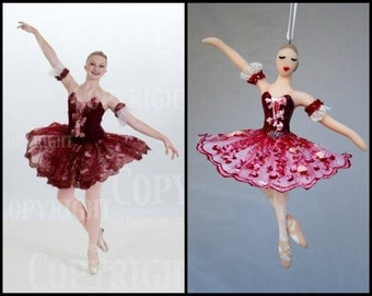Ballerina Ornament CUSTOMIZED to your costume Hand Sculpted in Clay