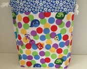 Inside Out Blue - Large Box Bottom Poor Girl Project Bag
