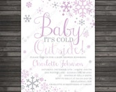 Girl Baby Its Cold Outside Baby Shower Invitation Printable - Purple Gray Winter Wonderland Baby Shower Invites - Lavender Snowflake Baby