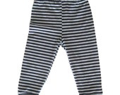 Black and Grey Striped Baby or Toddler Leggings, Gender Neutral Baby Pants 0-3 M to 2T