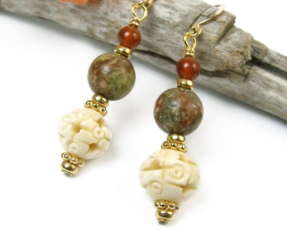 Earthy Jasper Carnelian Earrings Carved Bone Beads Gold Tone Handmade Jewelry