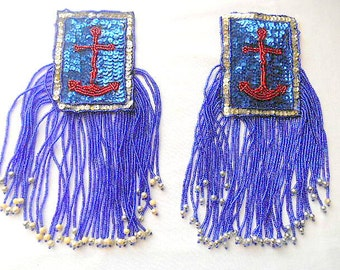 Vintage beaded and sequin 80's Anchor Appliques