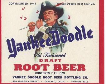 Yankee Doodle Root Beer Vintage Soda Label, 1940s