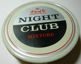R. Faerch Scandinavian Tobacco Co. Night Club Vintage Tobacco Tin, 1970s (empty)