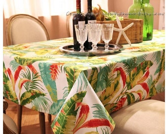Tablecloth Summer Palm Tree Flowers Rectangle Square Round  Dinner,Party,Wedding,Baby Shower