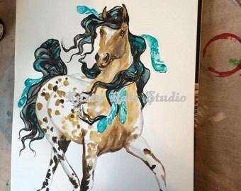 Buckskin Appaloosa warhorse