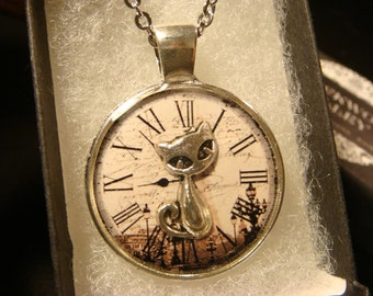 Silver Cat Over Clock Pendant Necklace (2060)
