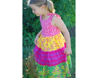 Girls Floral Dress, Tier Girls Dress, Girls Floral Dress, Cotton Batik Dress, Tiered Dress Batik