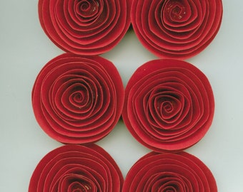 Handmade Large Red Spiral Paper Flowers