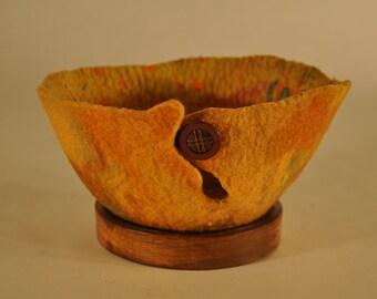 Handmade felt orange/rust yarn bowl- small