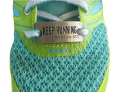 Running shoe charm - inspirational running charm - running shoe tag - KEEP RUNNING - Hebrews 12:1