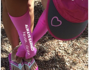 Arm warmers for running - Always earned never given -  arm warmer, running gift, running gear, gift for runners, running sleeves