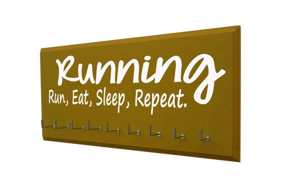 Running: running medals holder - running medals holder - holder for running medals, running ,eat,sleep,repeat, Runners gifts, runners awards