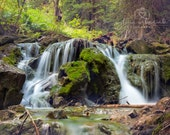 Waterfall Landscape Photography Nature Photography Colorado Photography woodland Colorado home decor Fine Art Photography Print