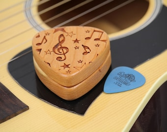 "Guitar Pick Box Slender, Pattern G22, 2-1/4"" x 2"" x 3/4"" d, Slender Solid Cherrywood, Laser Engraved, Paul Szewc"