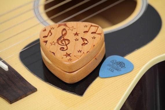 "Music Notes Guitar Pick Box Slender, Pattern G22, 2-1/4"" x 2"" x 3/4"" d, Slender Solid Cherrywood, Laser Engraved, Paul Szewc"