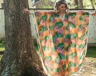 1970s . beach boho floral goddess cover up or house robe . OS