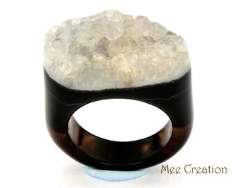 RI01011015) Black Agate Druzy Ring
