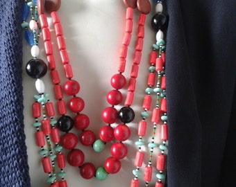SALE 20%     LOULOU de la FALAISE  /Long Summer necklace/coral/malachite/onyx/turquoise/crystal