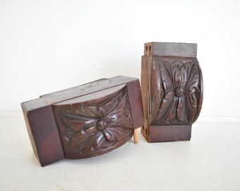Pair of Wood Architectural Salvages - Carved Wood Salvage