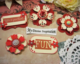 Red and Ivory Paper Embellishments and Paper Flowers for Scrapbook Layouts Cards Mini Albums Tags and Papercrafts