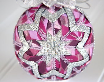 Quilted Ornament Ball/Pink, Purple and Silver - Frosted Petals