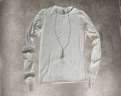 RESERVED ELIZABETH Cream top and necklace/Coordinates set women/extra long sleeves/crew neck shirt