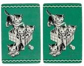 BASKET O'KITTENS (2) Vintage Single Swap Playing Cards Paper Ephemera Scrapbooking