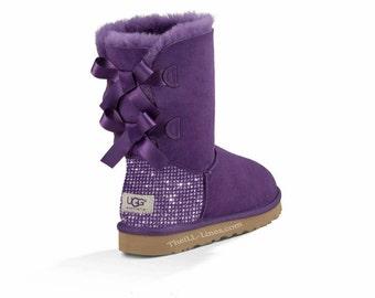 Custom Uggs, Purple Bailey Uggs, Bailey Bow Uggs, Uggs, Bling Uggs, Bedazzled Uggs, Purple Uggs, Uggs with Bows, Ugg Boots, Swarovski Uggs