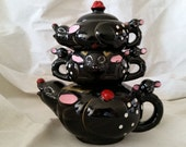 Shop closing sale Vintage stacking tea set ceramic teapot rabbit mouse tea set