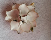 Clearance......Vintage enamel white rose dogwood pin brooch wearable art jewelry