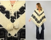WINTER SALE 70's Silverthorne Knit Poncho