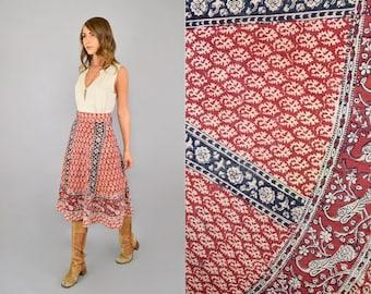 70's India Cotton Block Print Wrap Skirt