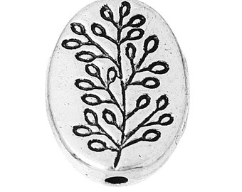 Oval Tree Charm, Antique Silver Spacer Beads - QTY 2.Oval Antique Silver Leaf Pattern  13mm, add on charm, Bracelet Charm, Necklace Charm