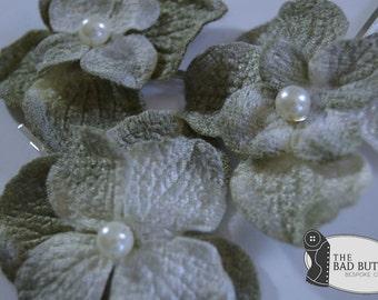 Moss and Lichen Hydrangea Hair Pins - Set of 3 - Pearl - Woodland Wedding Bobby Pins