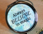 New! Compact Mirror, Double Sided, Always Believe in Magic, Silhouette Fairy with Butterfly, Fairy Art by Tammi Rodman Fasick