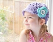 Girls hat, Purple Hat, Crochet hat, Kids Hat, Childs Hat, Brimmed Flower Newsgirl, newsboy, Crocheted Hat in Orchid, Turquoise, and White