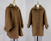 1980s Vintage Yves Saint Laurent Slouchy Brown Wool Coat. 80s YSL Oversized Winter Jacket (S, 36)