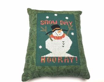 Snowman Cross Stitch, Finished Cross Stitch, Completed Cross Stitch, Cross Stitch Sampler, Snowman, Pillow