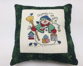 Christmas Cross Stitch, Snowman Cross Stitch, Completed Cross Stitch, Finished Cross Stitch, Cross Stitch Sampler