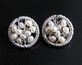 Freshwater Pearl Stud Earrings, Sterling Silver Wire Wrapped Pearl Earrings, June Birthstone, Unique White Pearl Earrings, Genuine Pearls
