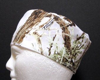 Mens Scrub Hat, Surgical Cap or Chemo Hat White Woodland Camo