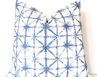 Blue Shibori Style Decorative Designer Pillow Cover accent throw cushion abstract tie dye indigo boho ombre watercolor azure jewel tone