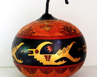 Painted Gourd Art - Native American Serpent Motif
