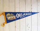 Vintage Orlando Florida Souvenir Pennant - Pre-Disney World - Mid-Century 1960s - Alligator and Palm Trees