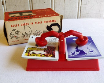 Vintage Card Guard Playing Card Holder with Original Box  - Outdoor Card Deck Holder - Mid-Century 1950s - Camping, Glamping, Beach