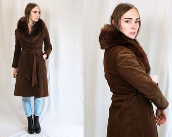 Vintage VTG VG 1970's 70's Shearling and Genuine Leather Brown Long Women's Coat with Adjustable Belt Bohemian Rocker Retro Medium Large